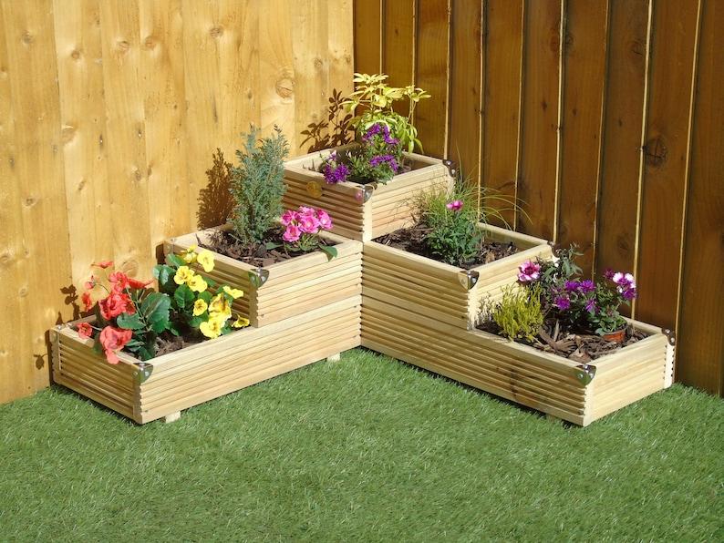 Large 3 Tiered Corner Garden Level Steps Wooden Decking Patio Etsy