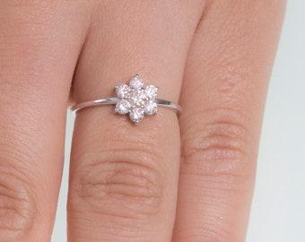 0638007eba3b2 Diamond flower ring | Etsy