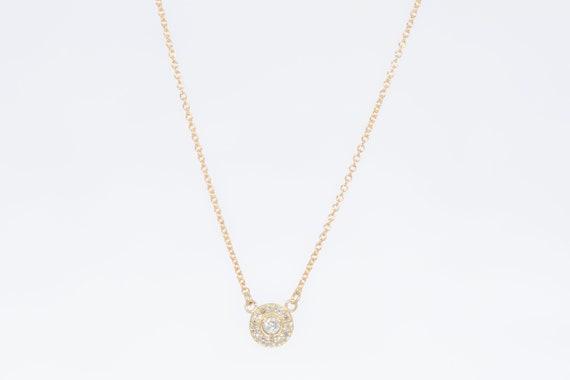 Necklace Diamond Halo 14k Yellow Gold Bridal Necklace Halo Etsy
