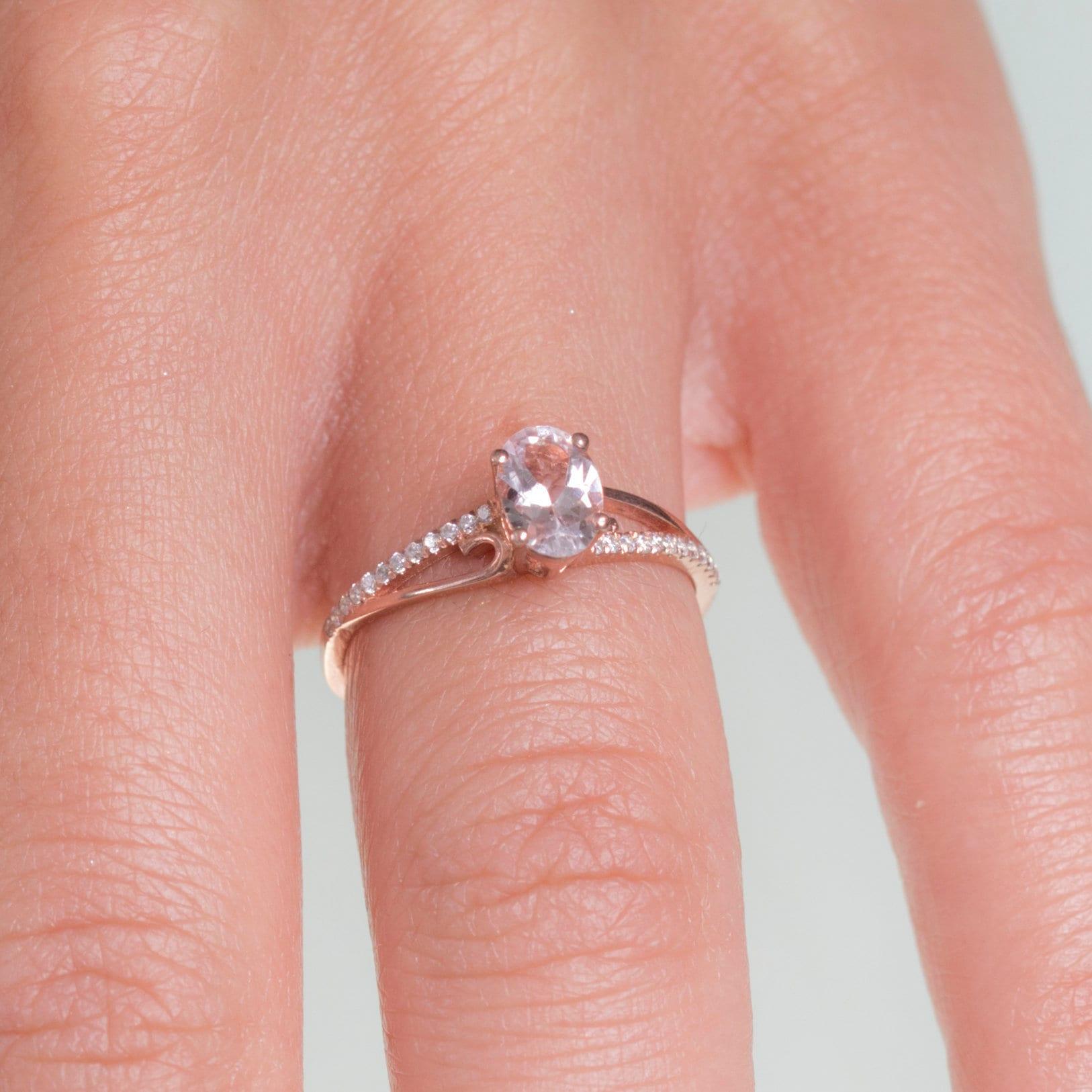 Morganite Engagement Ring Rose Gold Diamond Wedding Ring   Etsy
