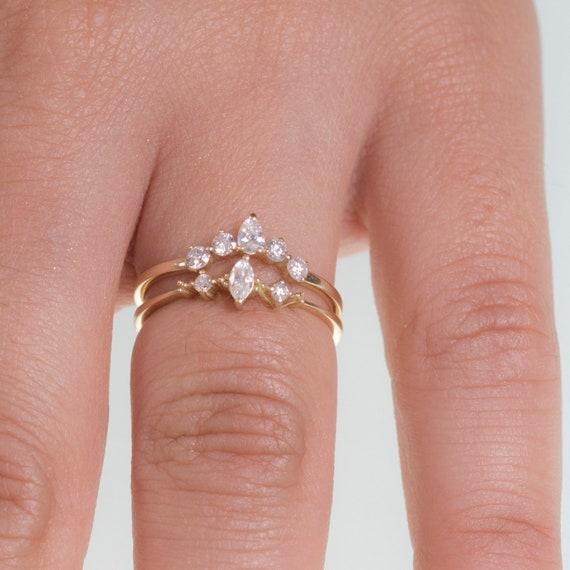 Marquise Diamond Engagement Ring Set Marquise Engagement Etsy