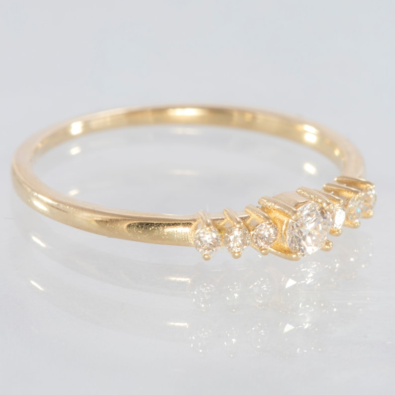 Wedding Ring Diamond Solitaire Ring 14k Solid Gold Engagement Ring Diamond Natural Diamond Delicate Diamond Ring Yellow Gold Modern