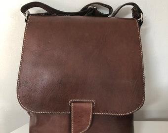 Brown leather handbag shoulder bag crossbody bag