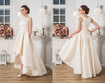 8f20fade324d Short Wedding Dress Ivory Ball Gown Simple Wedding Dresses For Bride Midi Skirt  Dress Satin Fabric Stunning Dress For Wedding Ideas 2018