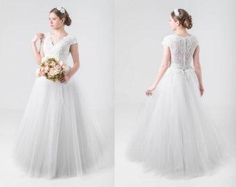 6fedbcd6913 Lace Bridal Top Chiffon Skirt Modest Wedding Dress Aline Ombre Wedding Dress  Princess Fairy Wedding Dress Lace Custom Ball Gown Prom Dress