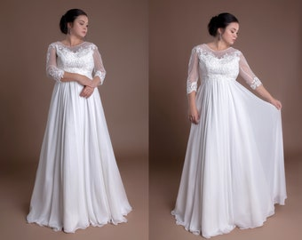 b5ac74f8b81 Lace Plus Size Wedding Dresses Full Figured Wedding Gowns With Sleeves  Curvy Bride Bridal Gowns A Line Simple Curves Lace Classy For Women