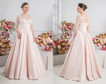 b677bbeaa7 Blush Pink Vintage Long Sleeves Corset Bridal Wedding Dresses A Line  Organza Lace Atlas Sash Court Train Bridal Gowns Floor Length Skirt