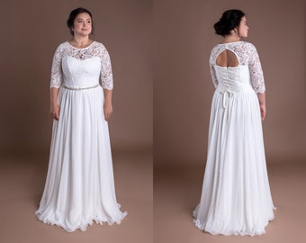 Bohemian Wedding Gown Vintage Bridal Sash Lace Bolero 3 4 Sleeves Keyhole  Back Cream Ivory Wedding Prom Dress Plus Size Rhinestone Belt Gown 8c20dfee5c93