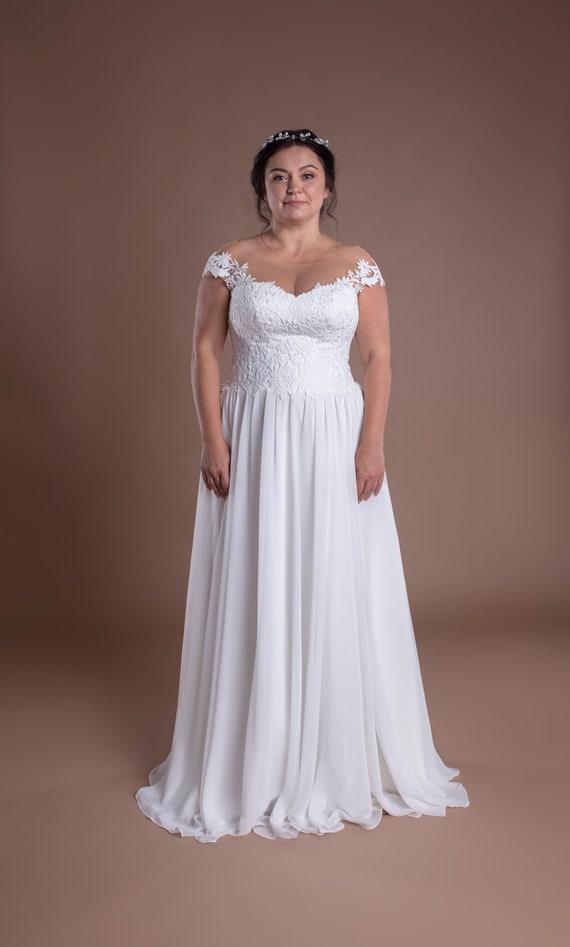 Plus Size Modest Wedding Dress Pagan Bridal Gown Plus Size Bride Off  Shoulder Top Lace Corset Dress Oversize A-line Beach Wedding Dress