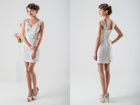 Short Civil Wedding Dress Pencil Reception Informal Wedding Dress Short Grey Lace Dress Casual Dress For Bride Tea Length Party Dress