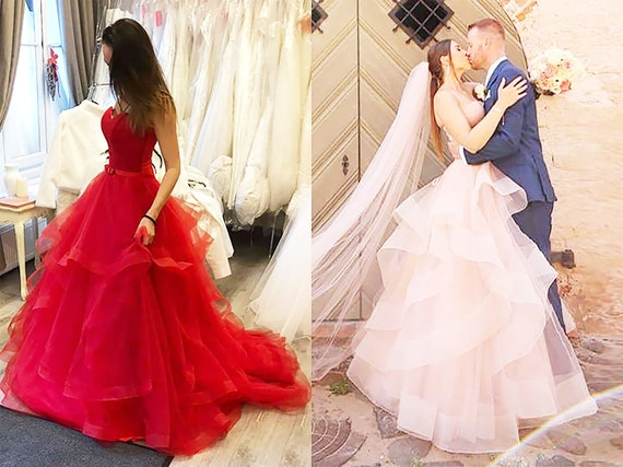 Long Red Wedding Dress Flowy Ombre Bridal Gown Red Prom Dress Unique Black  Wedding Gowns Light Pink Evening Dress Custom Color Ball Gown