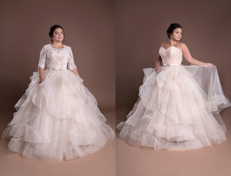 Blush Plus Size Formal Dress Layered Skirt Tulle Tank Ball | Etsy