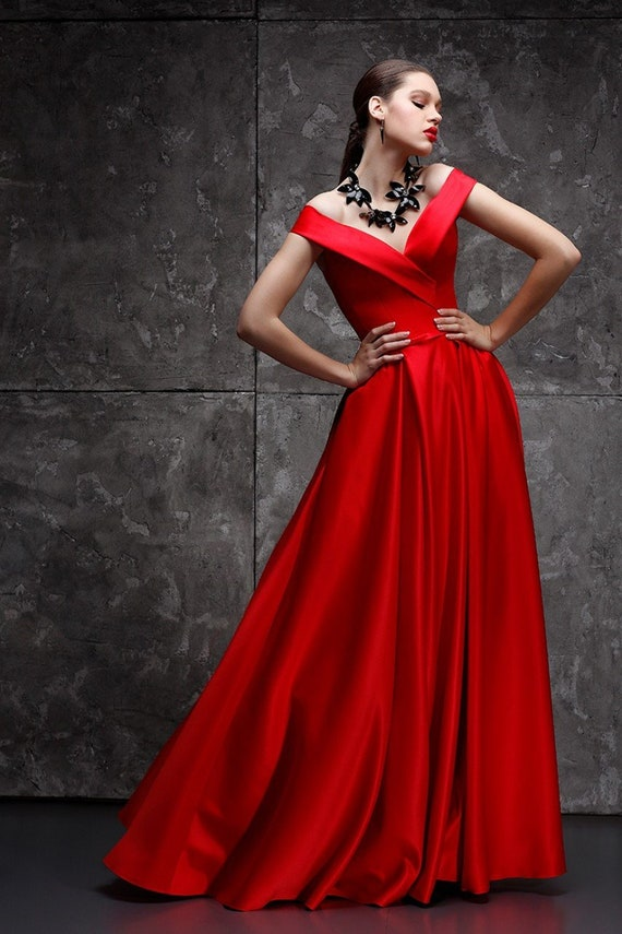 Red Long Evening Gown Sexy Steampunk Satin Dress Wedding Guest Etsy