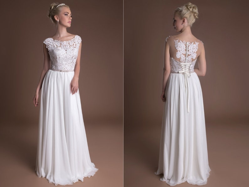0f6a65d23c3 Lace Vintage A Line Infinity Wedding Dress Floor Length Long