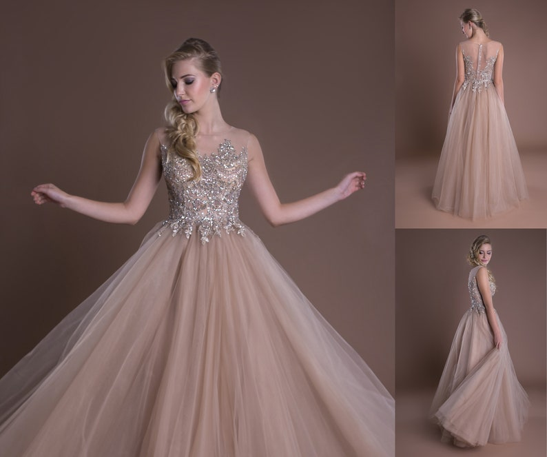8406297c1128b4 Beige Ball Gown formele Prom avondjurk Beaded Bodice bruiloft