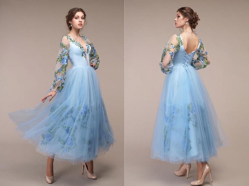 Kurze blaue Hochzeit Kleid tief V Ausschnitt Hellblau 3D ...