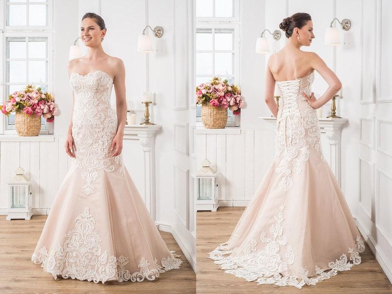 Blush mermaid prom dress sexy wedding dress with train etsy