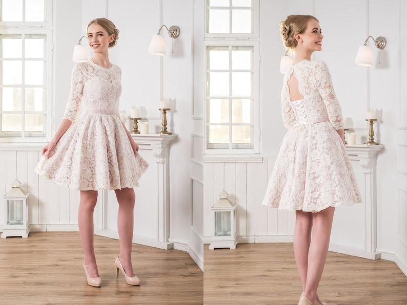 d1413b15e7 Courte en dentelle robe boule robes mariée Multi façon robe | Etsy