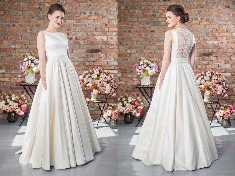 Lace Wedding Dress Open Back Lace Decor Boho Dress Elegant Dress Satin Fabric Bridal Satin Wedding Gown Long Wedding Dresses Bridal Gown