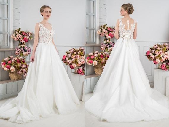 Long Train Airy Wedding Dress Illusion Neckline Modest Bridal Etsy