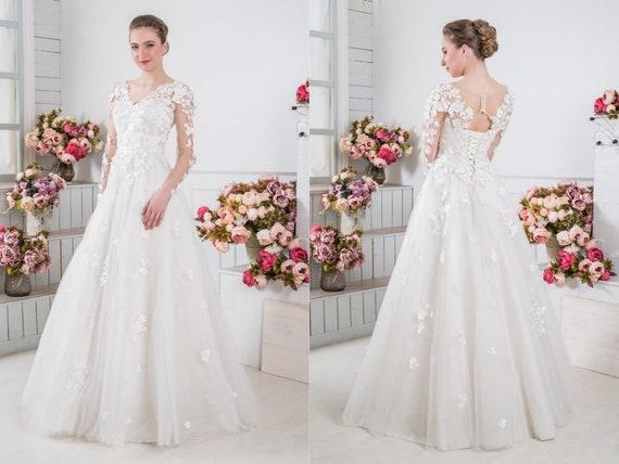 Classic Lace Wedding Dress White V Neck Summer Dress For Wedding Casual Bridal Dress Pregnant Long Bohemian Bridal Gown Chiffon Wedding Gown