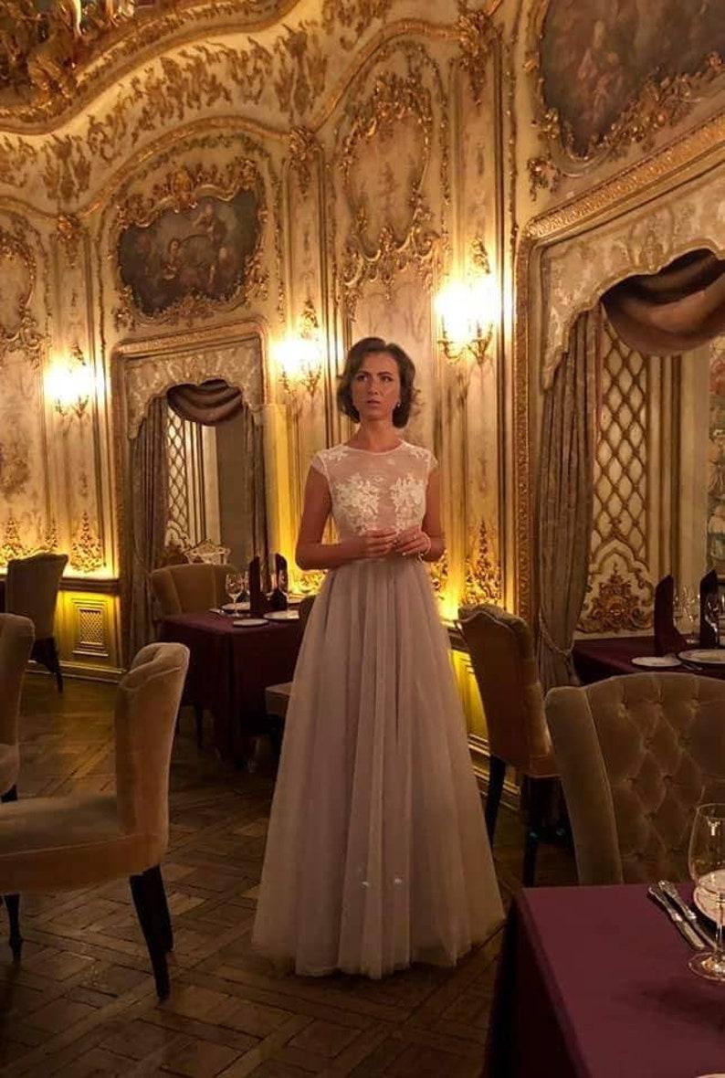 Grau Tüll Abend kleid Brautjungfer Kleider Illusion ...