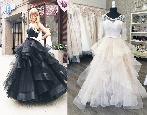 Black Ball Gown Gothic Steampunk Prom Dress Multiway Light Pink Backless Casual Wedding Dress Goth Black Tulle Chiffon Custom Made Dress