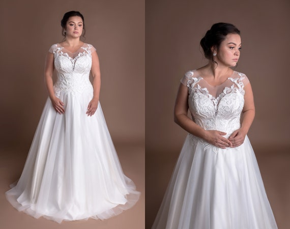 V-neck Lace Tulle A-line Plus Size Wedding Dress With Lace Appliques On  Bodice Natural Waist Sleeveless Modest Bridal Gown Robe De Mariée