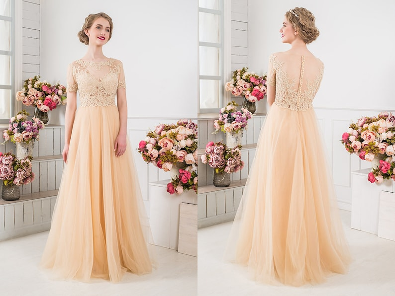Custom Made Champagne Dress Peach Lace Wedding Gown Any Color Etsy