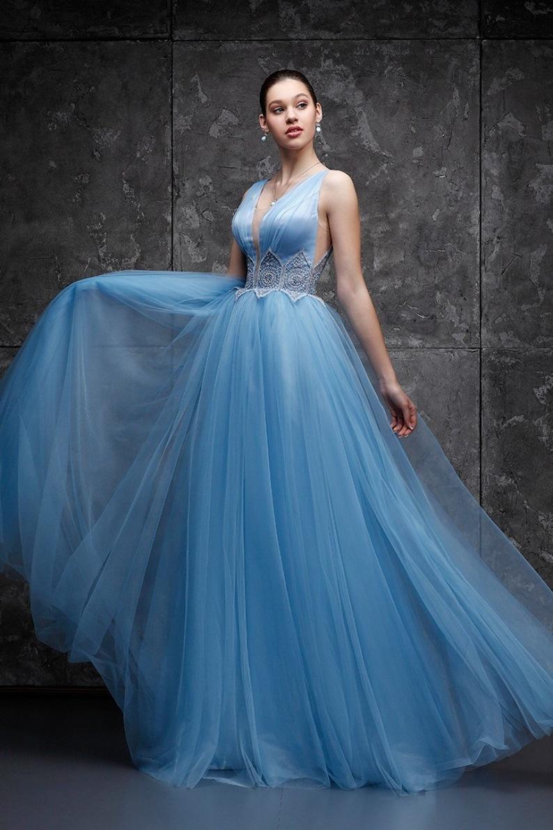 Custom Blue Wedding Guest Dress Boho Dresses Flapper Maxi Dress Evening Sexy Chiffon Gown Swing Girls Summer Dress Long Sheer Flowy Dress