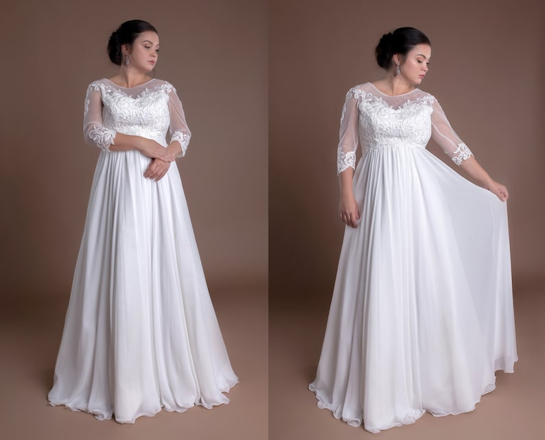 Lace Plus Size Wedding Dresses Full Figured Wedding Gowns With Sleeves  Curvy Bride Bridal Gowns A Line Simple Curves Lace Classy For Women