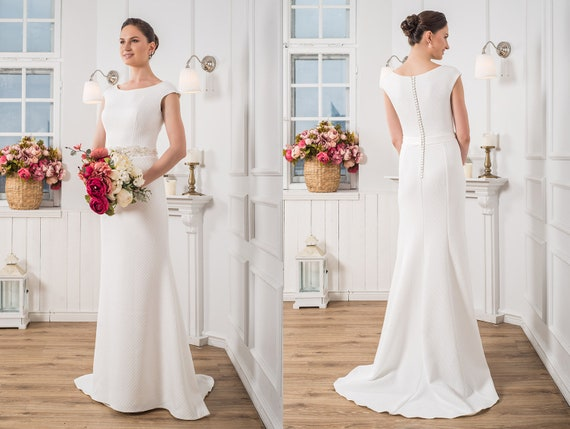 Elegant Wedding Dress Modest Wedding Gown Minimalist