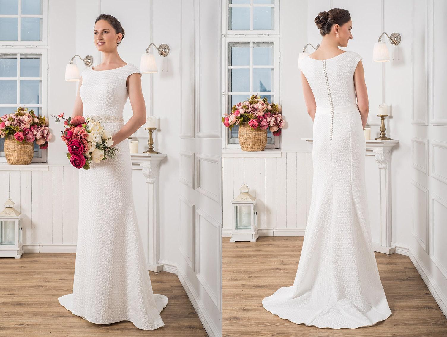 Eirene Modest Wedding Dress Simple Wedding Dress Bridal: Elegant Wedding Dress Modest Wedding Gown Minimalist