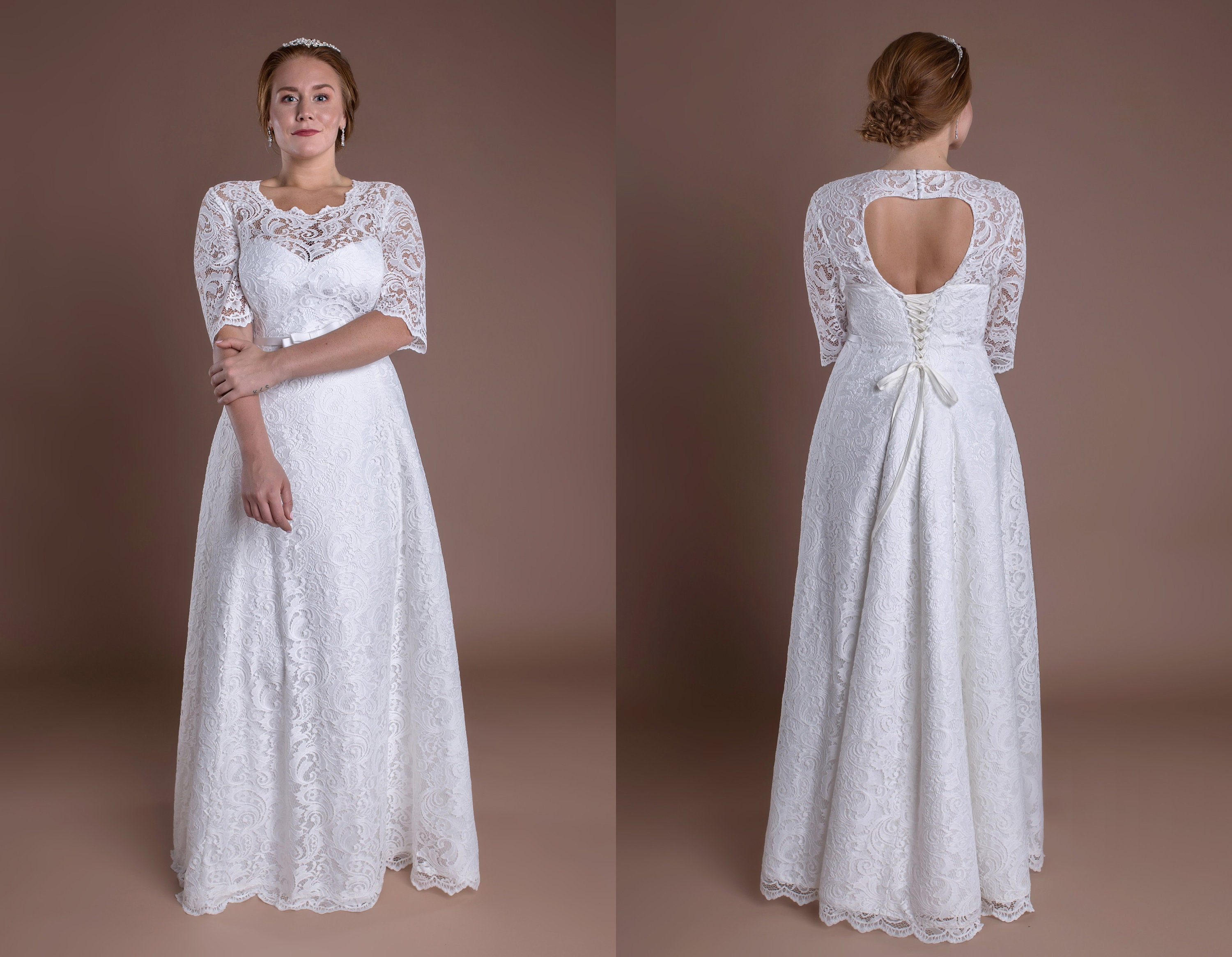 dfb3158cea2 Long Lace Keyhole Back Wedding Dress With Sleeves Romantic