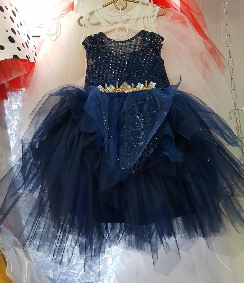 4d19970a77 Blue Flower Girl Dress Yellow Tutu Wedding Dress Princess Ball