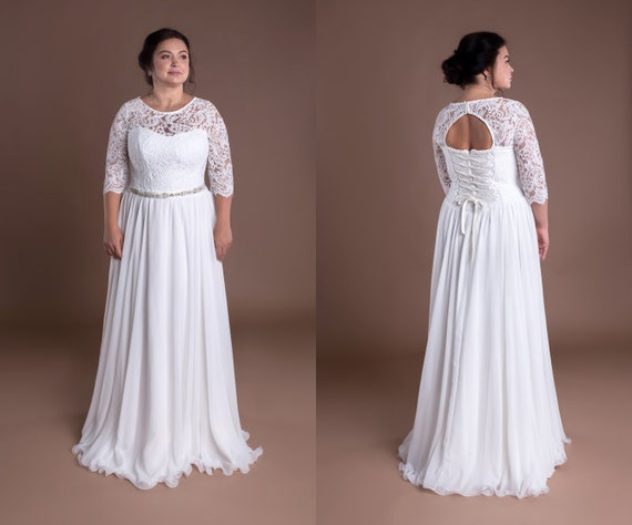 Bohemian Wedding Gown Vintage Bridal Sash Lace Bolero 3/4 Sleeves Keyhole  Back Cream Ivory Wedding Prom Dress Plus Size Rhinestone Belt Gown