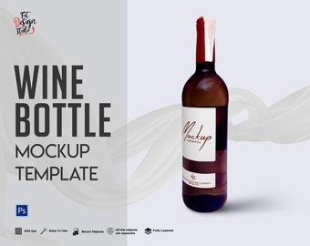 Download Free Wine Bottle Mockup Template - Mockup Template - Mockup - Photoshop Templates - Design Template - Instant Download PSD Template
