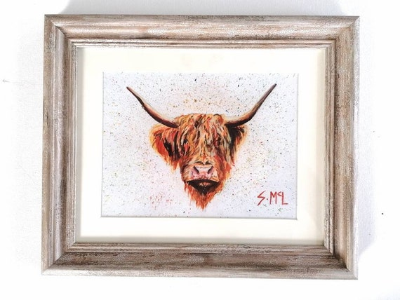 Watercolour Highland Cow Painting Cow Print Home Decor Cow Etsy