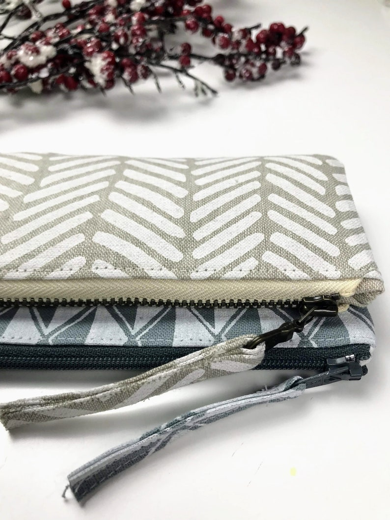 Teacher/'s Gift Canvas Pouch Lined Zipper Pouch Pencil Case Cotton and Flax Arroyo Fabric Zip Pouch