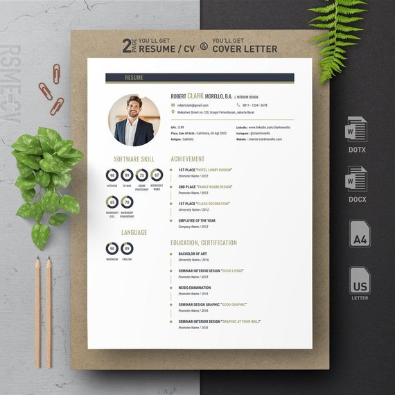 blue gold professional clean modern resume cv design template