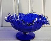 Fenton Cobalt Blue Silvercrest Ruffle Edge Large Basket with Clear Handle