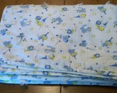 Vintage Handmade Large Baby or Childs Yellow Blue Clown Quilt