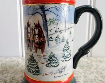 Anheuser Busch AB Budweiser Bud stein  1991 holiday christmas case of 12
