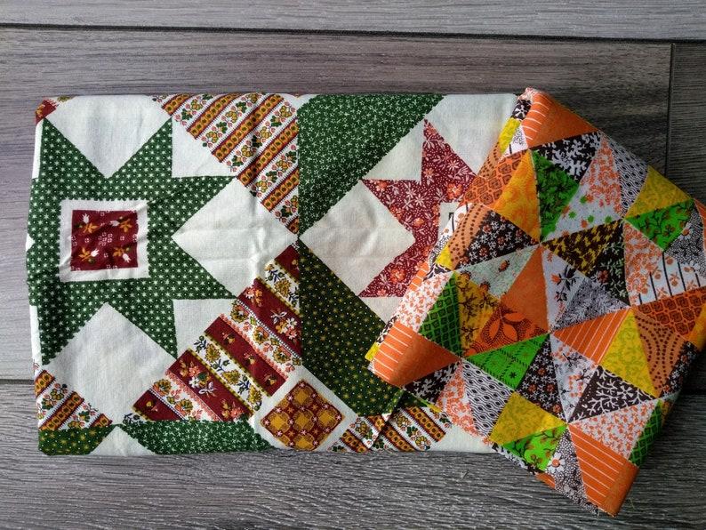 2 Pieces Retro Orange Green Patchwork Quilt Printed Fabric