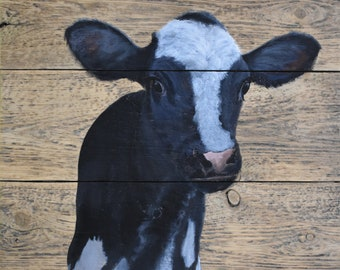 "John Kenward Original Painting on a Barn Board Panel ""Hubert"""