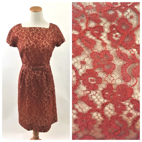 1950s Red Floral Lace Vintage Wiggle Dress