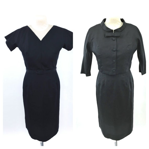1950s Black Wiggle Dress and Jacket Set