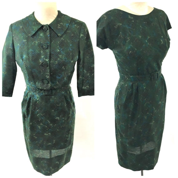 1950s Blue and Green Patterned Wiggle Dress and Ja