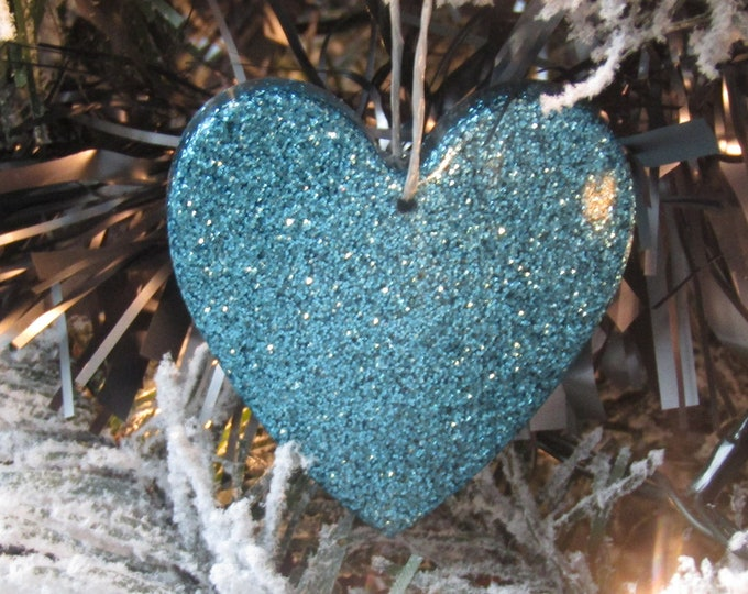 Turquoise Heart Christmas Tree Decoration. Large.
