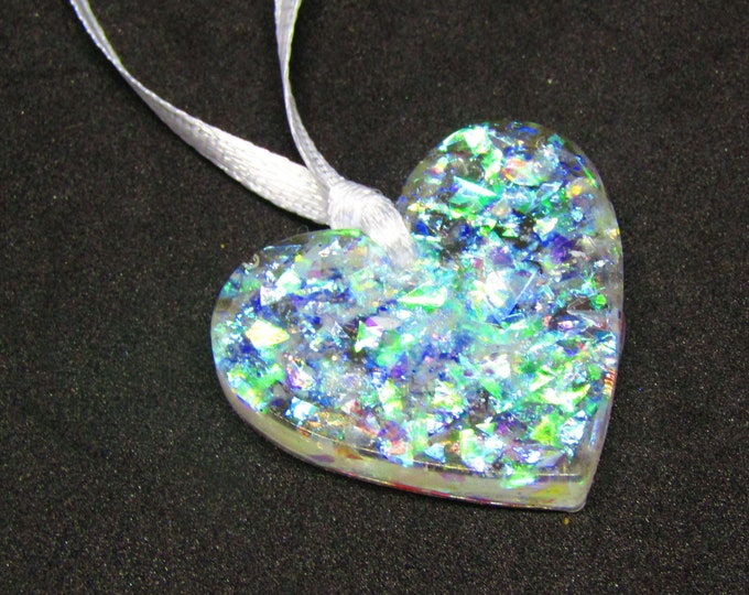 Small iridescent glitter hearts Christmas decorations. Pack of 5.